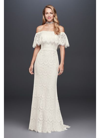 As-Is Off-The-Shoulder Eyelash Lace Wedding Dress - This allover lace sheath dress features an off-the-shoulder