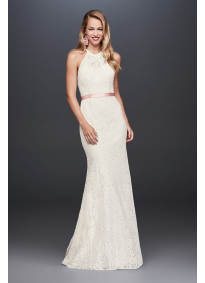 As-Is Illusion Lace Halter Sheath Wedding Dress - This halter wedding gown's allover lace has a