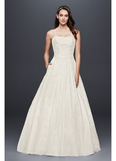 As-Is Allover Lace Ball Gown with Spaghetti Straps - Detailed with a pleated bodice and slim spaghetti