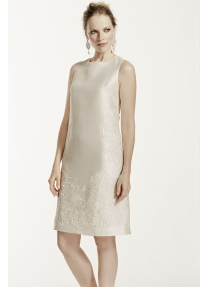 As-Is Short Mikado Dress with Sequined Lace - This dress is for the modern chic bride