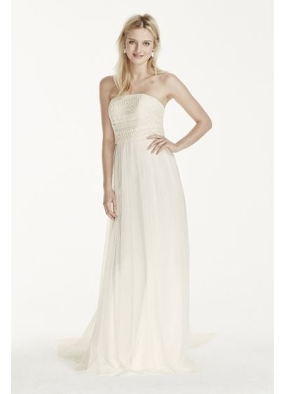 As-Is Tulle Sheath Dress with Lace Bodice - Understated and elegant you will be flawless in