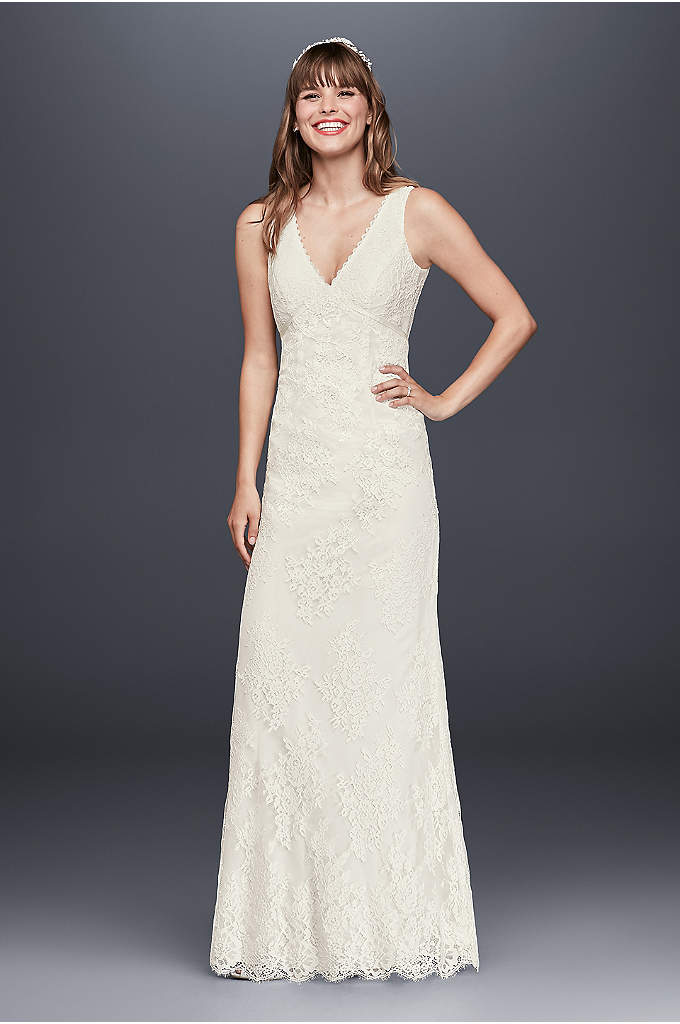 As-Is Lace Floral Wedding Dress with Tank Sleeves - What's not to love about this all over