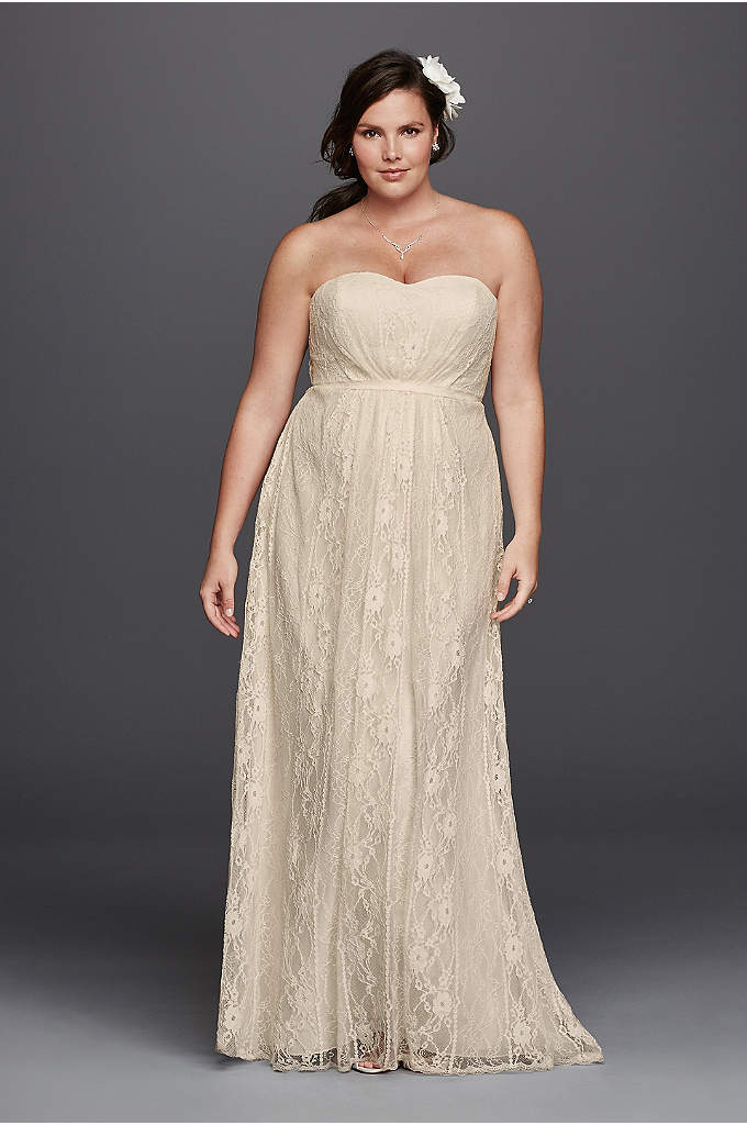 As-Is Linear Lace Overlay Plus Size Wedding Dress - This strapless sweetheart neckline wedding dress is just