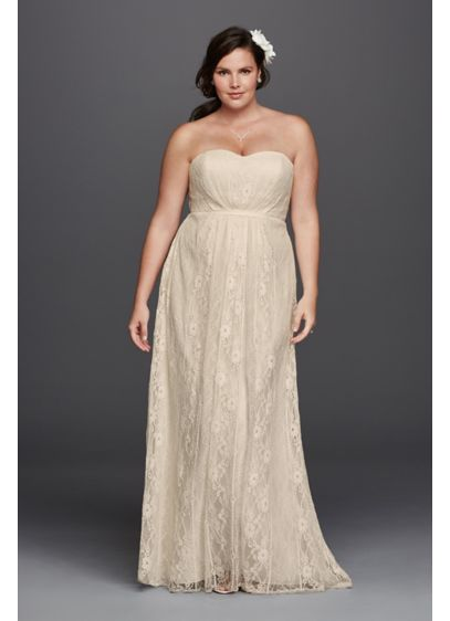 As-Is Linear Lace Overlay Plus Size Wedding Dress | David\'s Bridal
