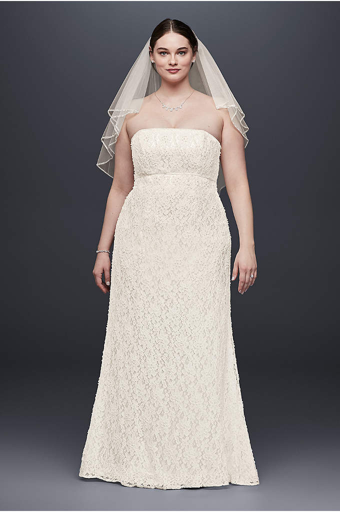 As-Is Lace Empire WaistPlus Size Wedding Dress - Featuring a pearl-trimmed empire waist and allover pearl