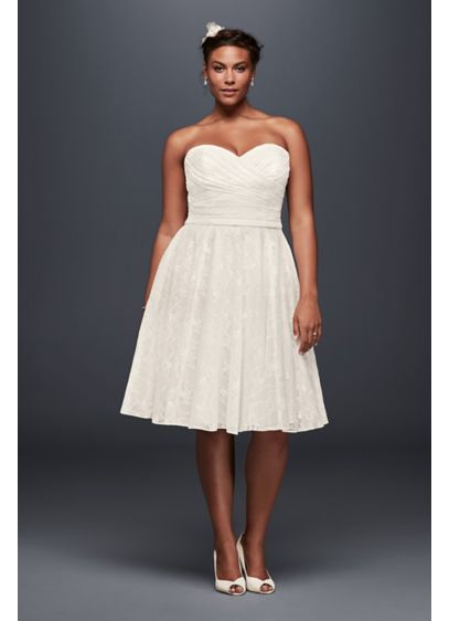Ivory (As-Is Strapless Lace Plus Size Short Wedding Dress)