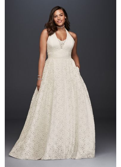 As-Is Plunging Lace Halter Plus Size Wedding Dress - This plunging allover lace wedding dress is the