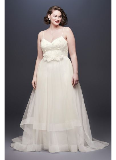 As Is Floral Bodice Tulle Plus Size Wedding - A free-spirited take on the traditional ball gown