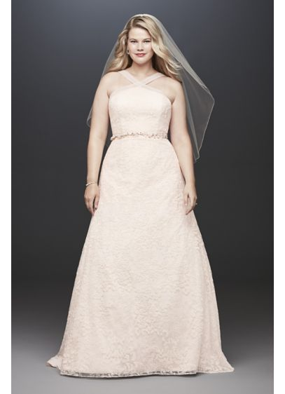 As- Is Embroidered Y-Neck Plus Size Wedding Dress - Embroidered, nature-inspired motifs give this A-line wedding dress