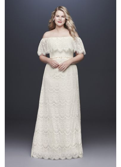 As-Is Off-Shoulder Lace Plus Size Wedding Dress - This allover lace sheath dress features an off-the-shoulder