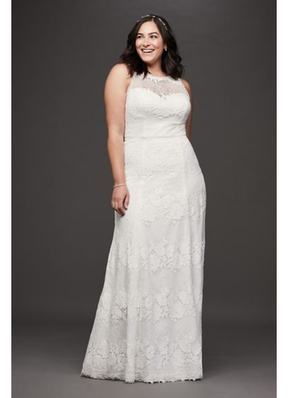 As-Is Open Back llusion Plus Size Wedding Dress - This charming, floral lace plus-size sheath wedding gown