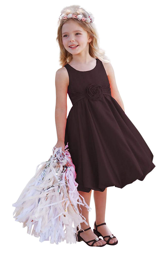 As-Is Satin Tank Bubble Dress with 3D Flower - Sweet and very chic, this satin bubble dress