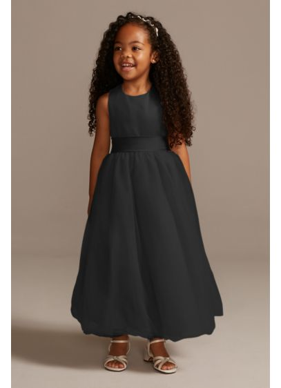 Blue (As-Is Satin Flower Girl Dress with Tulle Skirt)