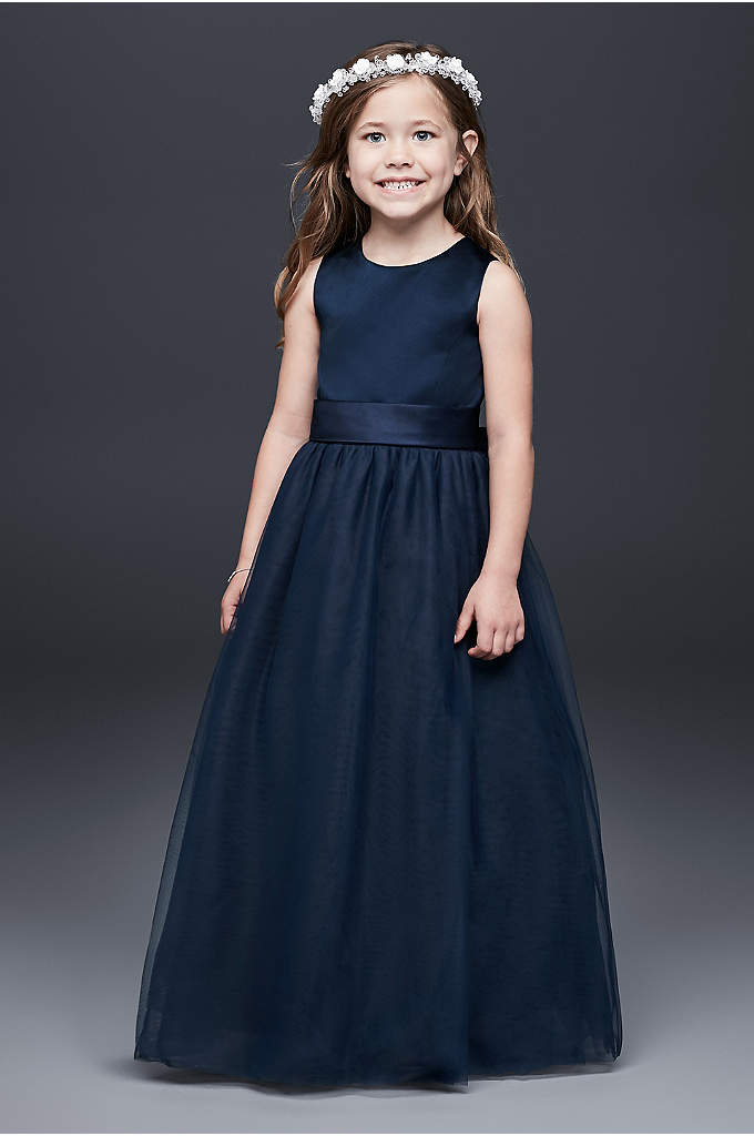 As-Is Satin Flower Girl Dress with Tulle Skirt