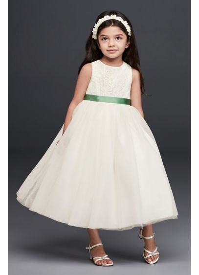 White (As-Is Lace and Mesh Tank Flower Girl Dress)