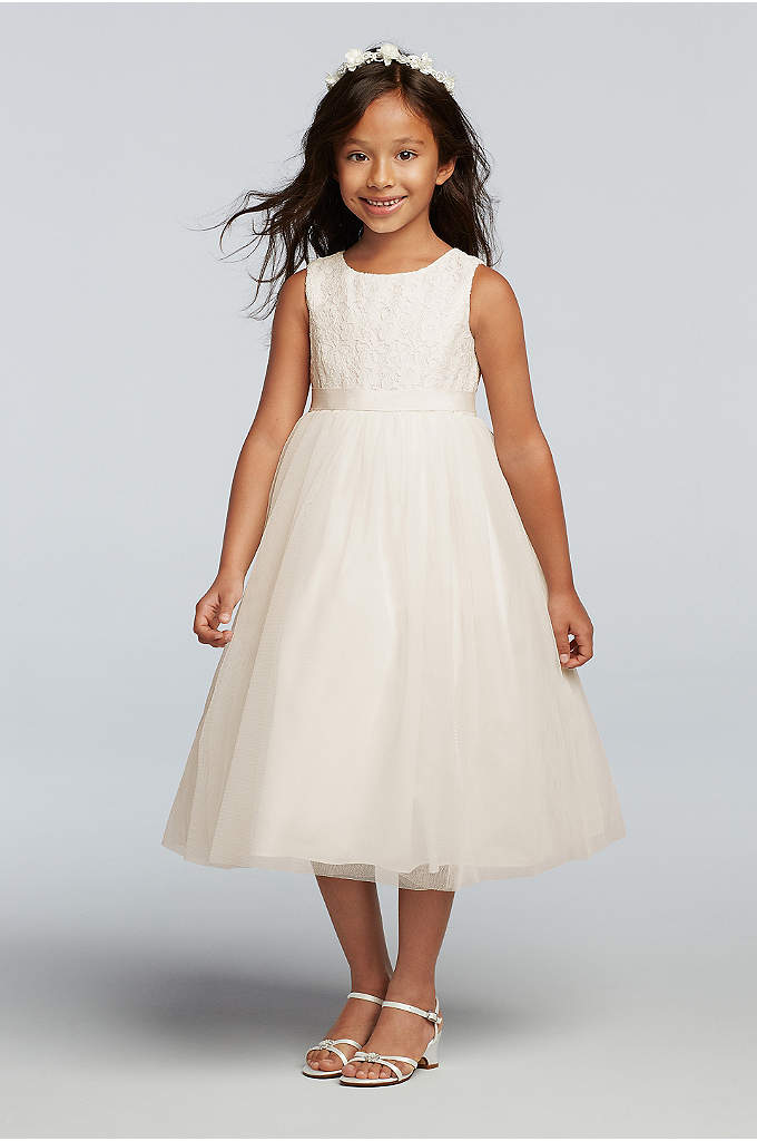 As-Is Lace and Mesh Tank Flower Girl Dress - Twirl alert: This lace-bodice flower girl dress is