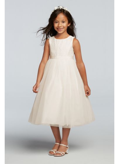 Ivory (As-Is Lace and Mesh Tank Flower Girl Dress)