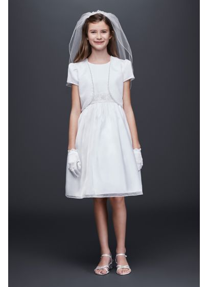 As-Is Satin and Organza Communion Dress and Jacket - Topped with a matching bolero jacket, this shimmering