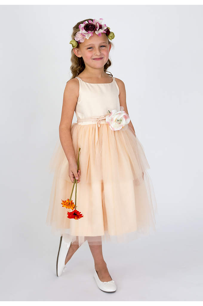As-Is Spaghetti-Strap Tulle Flower Girl Dress