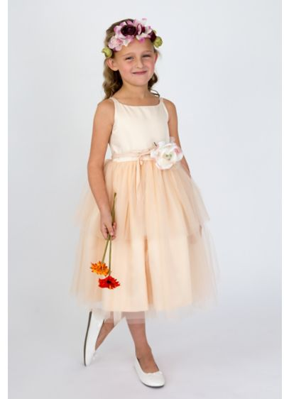 Orange (As-Is Spaghetti-Strap Tulle Flower Girl Dress)