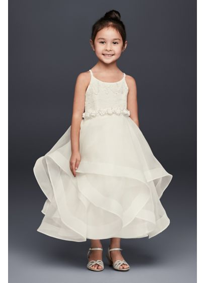 As-Is Lace and Tulle Flower Girl Dress - Structured horsehair trim makes the tulle skirt of