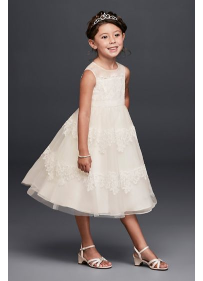 As-Is Banded Lace Illusion Flower Girl Dress - Bands of eyelash lace wrap the bodice and