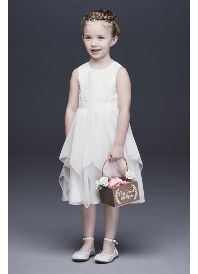 As-Is Chiffon Flower Girl Dress with Bow Sash - She'll love to twirl in this classic-with-a-twist dress,