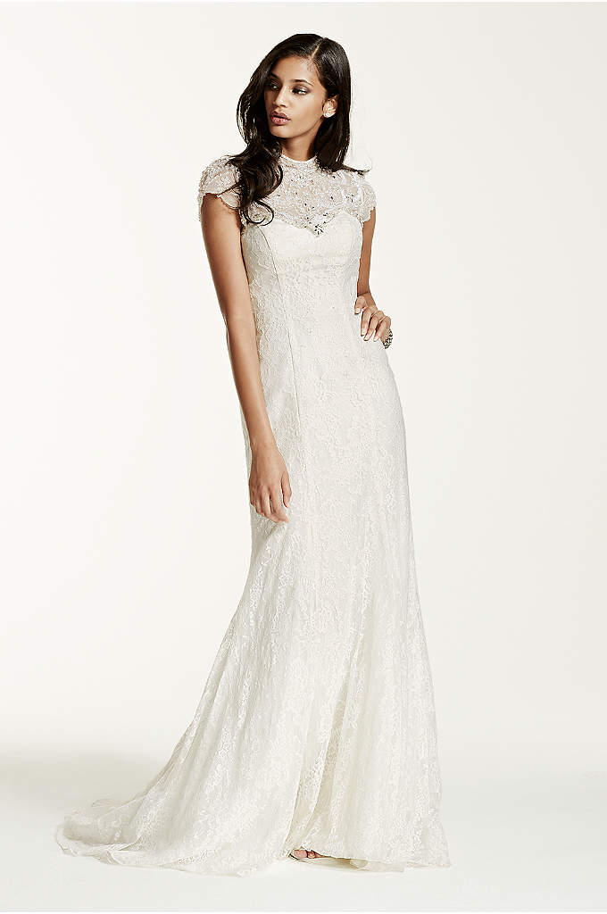 As-Is Petite Lace Sheath Gown - You will captivate everyone as you walk down