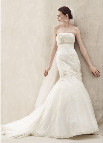 As-Is Petite Lace Wedding Dress Floral Details - Lace mermaid gown is sophisticated and romantic, perfect