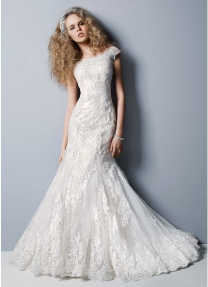 75637b3a685 Petite Off The Shoulder Chantilly Lace Gown. AI19030116. Long Mermaid   Trumpet Wedding Dress -