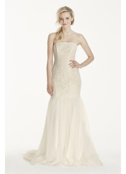David's Bridal White (As-Is Petite Strapless Lace Trumpet Tuelle Skirt)