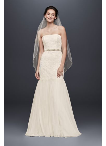 As-Is Petite Strapless Lace Trumpet Tuelle Skirt - Designed for the bride seeking effortless class on