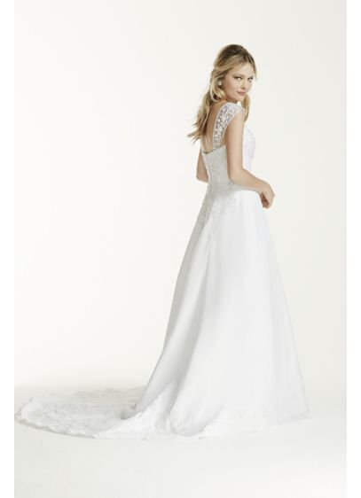 Petite A-line with Chiffon Split Front Overlay - Satin A-line gown with detachable cap sleeves, chiffon
