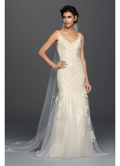 As-Is Illusion Lace Mermaid Wedding Dress - Softness and femininity reign in this dreamy lace