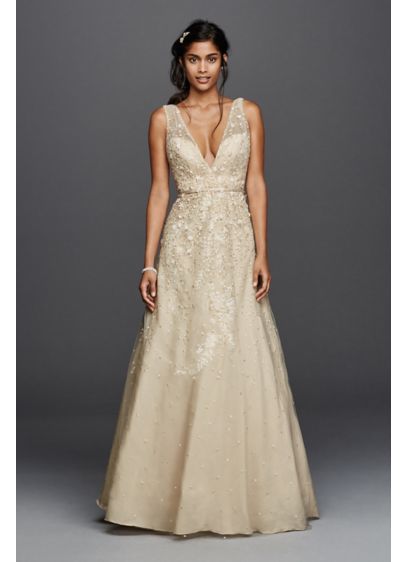 As-Is Wedding Dress with Plunging Neckline - The plunging V-neckline and V-back on this tulle