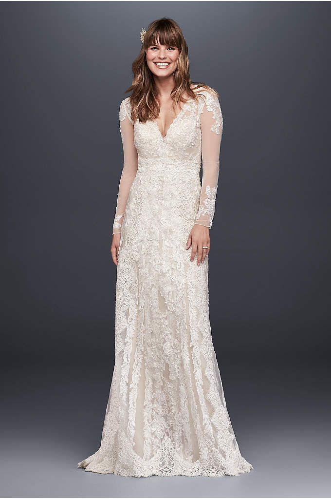 As-Is Linear Lace Wedding Dress - This artisanal sheath wedding dress is crafted using