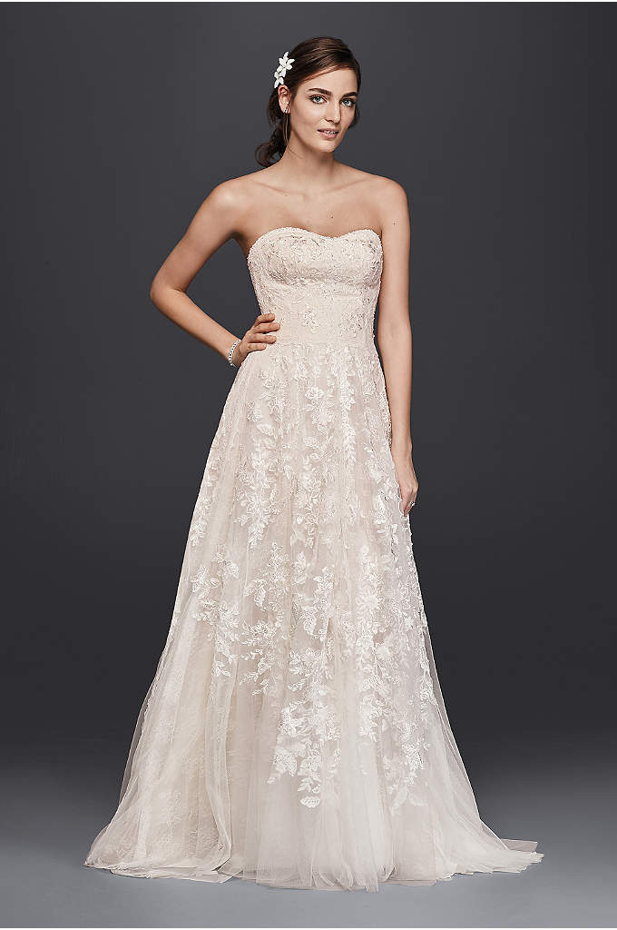 As-Is Lace A-Line Wedding Dress - Soft panels of floral and scalloped lace fall