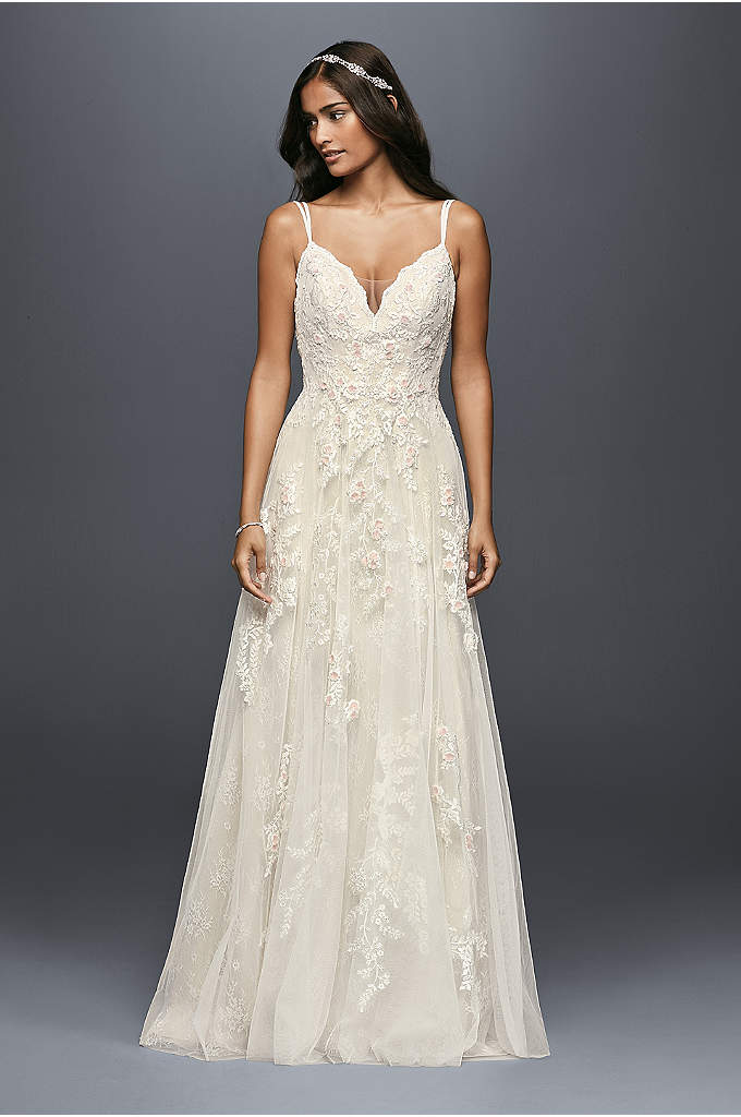 As-Is A-Line Wedding Dress with Double Straps - Appliqued with pearl-centered blush flowers, this scalloped-bodice gown