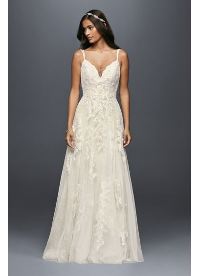 As is a line wedding dress with double straps davids bridal as is a line wedding dress with double straps junglespirit Choice Image