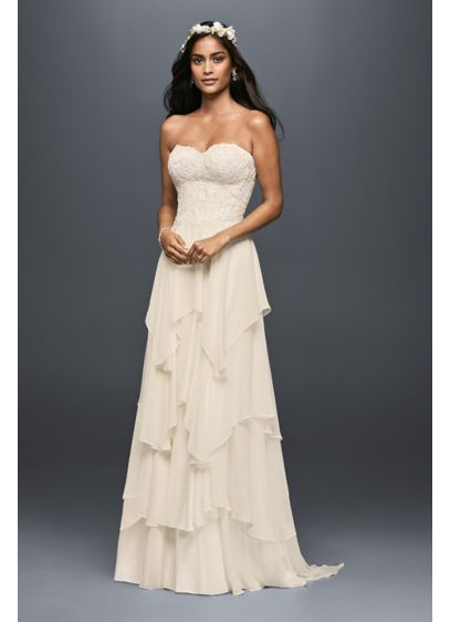 As-Is Tiered Chiffon A-Line Wedding Dress - You will float down the aisle in this