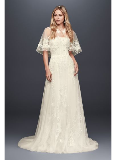 As Is Floral Lace Wedding Gown with Capelet - Vintage-inspired to the last detail, this strapless A-line