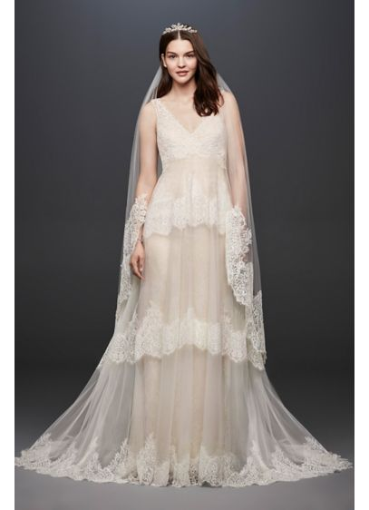 As Is Banded Eyelash Lace Layered Wedding Dress - This two-piece Melissa Sweet wedding gown features a