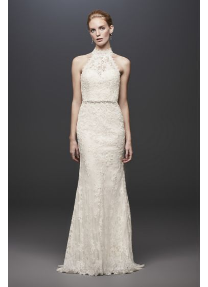 Ivory (As-Is Lace High-Neck Halter Sheath Wedding Dress)
