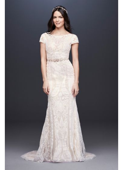 As-Is Laser-Cut Illusion Cap Sleeve Wedding Dress - With a stained glass-inspired motif, this slim sheath