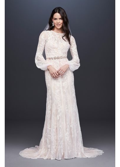 As-Is Bishop Sleeve Lace Sheath Wedding Dress - With a high neckline and long bishop sleeves,