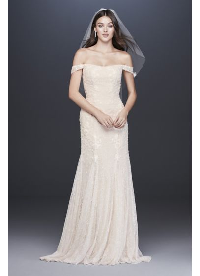 Ivory (As-Is Swag Sleeve Lace Trumpet Wedding Dress)