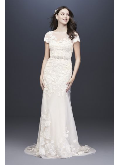 As-Is Embroidered Cap Sleeve Wedding Dress - A modern sheath with a vintage feel, this