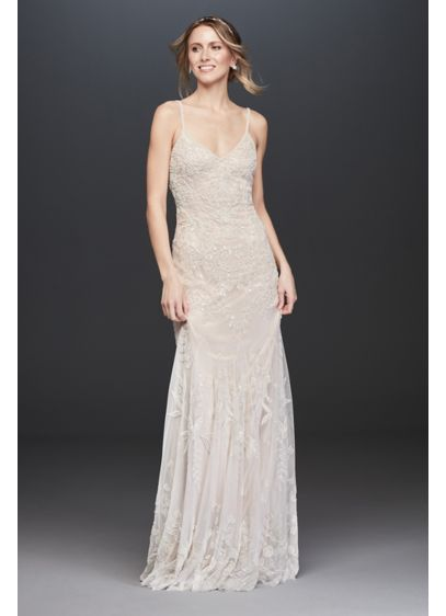 As Is Allover Floral Beaded Sheath Wedding Dress - Romantic and feminine, this stunning wedding dress pairs
