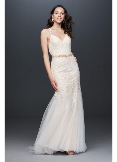 As Is Cross-Back Lace Mermaid Wedding Dress - This beaded Chantilly lace mermaid wedding dress has