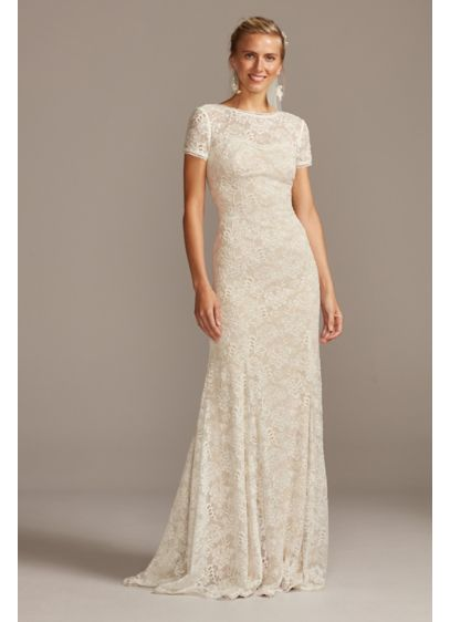 As Is Short Sleeve Low Back Lace Wedding - This romantic lace wedding dress combines an elegant